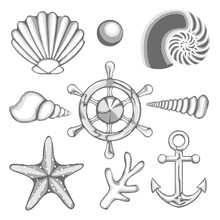 Hatched Drawing Vector Sea Set