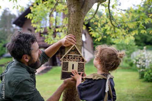 Fotografija Small girl with father holding bug and insect hotel in garden, sustainable lifestyle