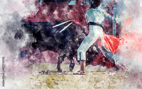 Fototapeta Watercolor, spectacle of bullfighting, where a bull fighting a bullfighter Spani