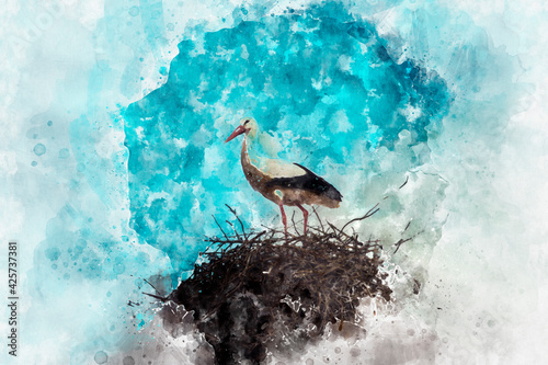 Canvas Print Watercolor, village, Stork nest made of tree branches over blue sky in dramati