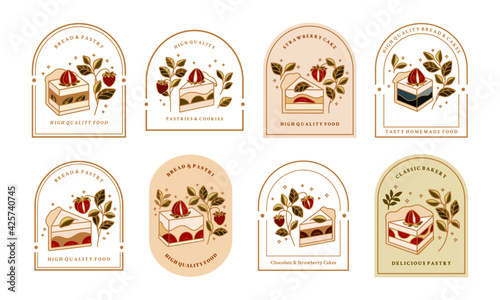 Fotografering Collection of Vintage Cake Logo and Food Label with Strawberry, Frame, and Flora