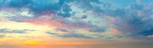 Panoramic View Of  Sunset  Sunrise Sundown Sky With Colorful Clouds
