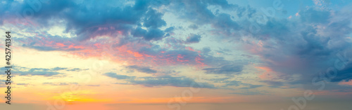 Photo Panoramic view of  Sunset  Sunrise Sundown Sky with colorful clouds