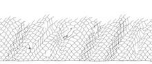Black Fisherman Rope Net Vector Seamless Texture On White