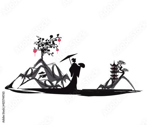 Fotografie, Obraz Chinese New Year celebration card - geisha and beautiful landscape