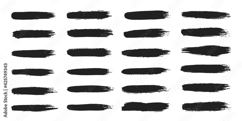 Fototapeta Big collection of hand drawncalligraphy brush strokes black paint texture set vector illustration isolated on white background. Calligraphy brushes high detail abstract elements.