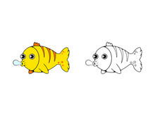 Funny Yellow Fish Lets Out Bubbles. Isolated Vector Image In Eps Format.