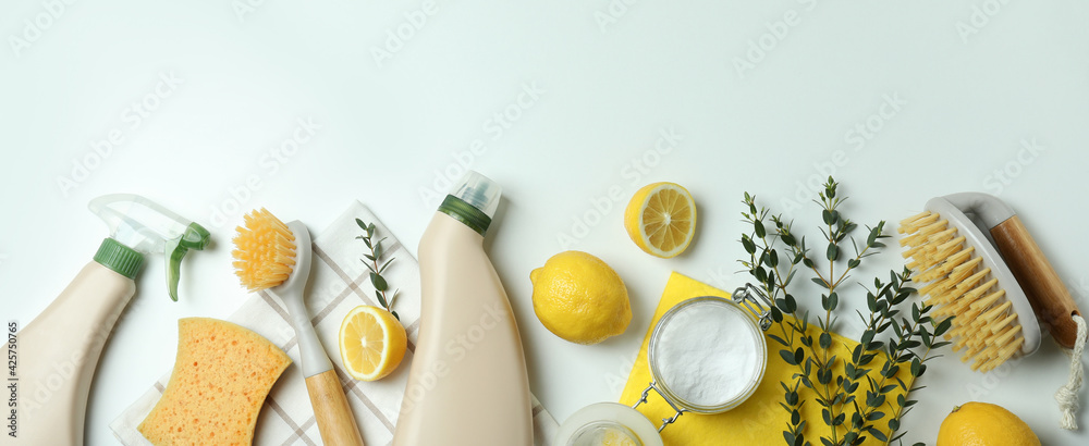 Cleaning concept with eco friendly cleaning tools on white background