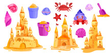 Sand Castle Vector Summer Beach Illustration Collection, Towers, Starfish, Bucket, Shell, Shovel, Crab. Kids Seaside Game Clipart Isolated On White, Vacation Shore Cartoon Set. Sand Castle Palace Icon