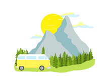 Yellow Retro Camper Van With Forest And Mountains In The Background. Living Van Life, Camping In The Nature, Travelling. Light Colors Illustration.