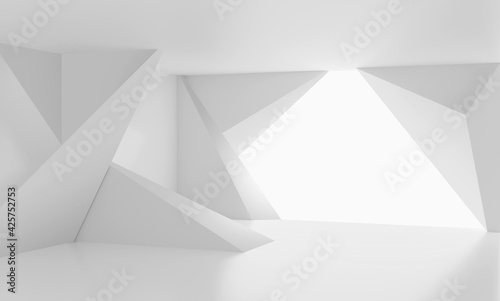 Foto 3D Abstract room white background. 3d render