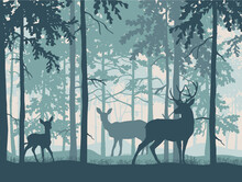 Deer With Doe And Fawn In Magic Misty Forest. Silhouettes Of Trees And Animals. Blue Background, Illustration.
