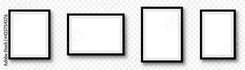 Obraz Photo frame. Picture frames set with shadow on transparent background - fototapety do salonu