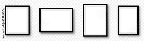 Fototapeta Photo frame. Picture frames set with shadow on transparent background obraz