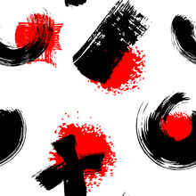 Abstract Seamless Pattern With Black And Red Brush Strokes And Splashes Isolated On White Background. Ink Grunge Texture. Japanese Style Vector Wallpaper.