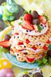 canvas print picture - Waffeln mit Erdbeersahne