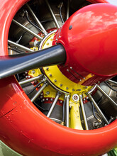 Colorful Components Of A Piston Aircraft Engine In Radial Arrangement