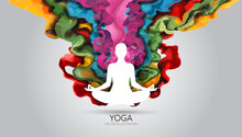 Yoga Pose And Abstract Liquid, Vector Illustration
