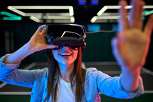 Young Woman In Virtual Reality Space