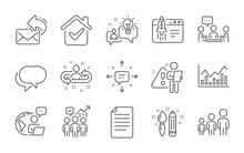 Idea, Business Hierarchy And Share Mail Line Icons Set. Start Business, Recruitment And Sms Signs. People Chatting, Creativity And Talk Bubble Symbols. Infochart, File. Line Icons Set. Vector