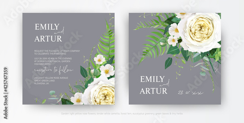 Fotografia Tender stylish vector floral wedding invite, watercolor save the date card template design