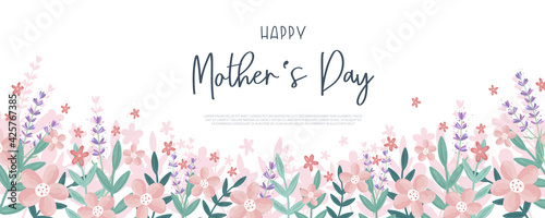 Cuadros en Lienzo Cute Mother's Day design, great for covers, banners, wallpapers, invitations