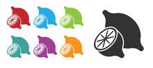 Black Lemon Icon Isolated On White Background. Set Icons Colorful. Vector
