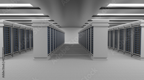 Fototapeta Network and internet communication technology concept, data center interior, server racks with telecommunication equipment in server room obraz