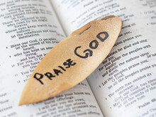Open Bible Psalms Song With A Message To Praise God Our Father And Lord Jesus Christ For His Mercy Grace Righteousness. Trust Faith Love In God. Bible Concept.