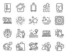 Business Icons Set. Included Icon As Packing Boxes, Water Cooler, Fireworks Signs. Web Analytics, Bitcoin Project, Baggage Reclaim Symbols. Travel Sea, Refrigerator, Online Loan. E-mail. Vector