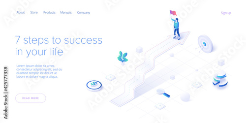 Career growth with young woman holding goal flag. Success or successful job development with businesswoman. Isometric vector illustration. Web banner layout template.