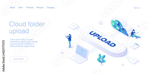 Obraz Young woman using cloud folder service in isometric vector illustration. Girl uploading documents in digital storage. Data transfering application. Web banner template. - fototapety do salonu