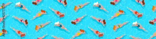 Fototapeta People swimming in water, swimming pool, sea, ocean summer vacation background obraz