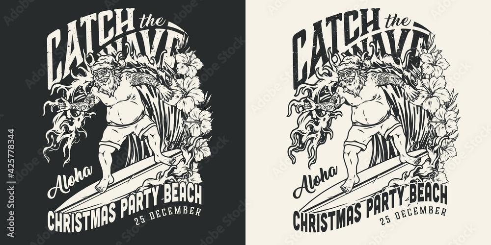 Fototapeta Christmas surfing vintage monochrome label