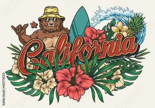 Obraz California surfing vintage colorful emblem - fototapety do salonu