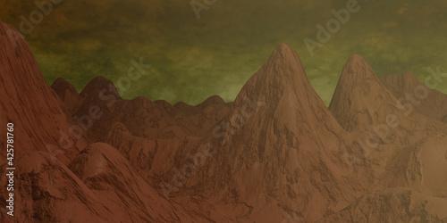 Obraz Mars landscape, science fiction illustration. - fototapety do salonu