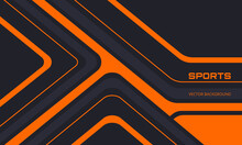 Orange And Black Sports Background With Abstract Design Motion Elements, Angles And Arrows. Abstract Dark Gray And Orange Waved Background.