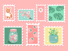 Set Of Beautiful Hand-drawn Post Stamps. Variety Of Modern Vector Isolated Post Stamp Designs. Cute Post Stamps With Plant, Dog, Berries. Mail And Post Office Conceptual Drawing.