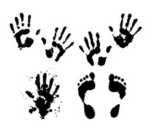 Vector Set Of Isolated Elements Hand And Foot Prints. Silhouettes Of Human Hands And Feet With Splashes Of Black On A White Background Hand-drawn In Ink For Packaging Design Template, Poster Labels