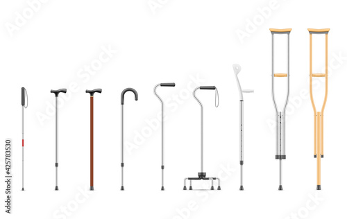 Fotografering Set realistic crutches and walking stick vector illustration medical devices add