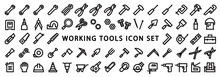 Big Set Of Working Tools Icon (Bold Outline Version)