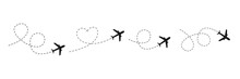 Airplane Line Path Icon. Vector Illustration Of Air Plane Flight Route With Line Trace Isolated On White Background