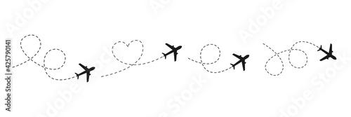 Fototapeta Airplane line path icon