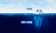 Leinwandbild Motiv Covid and post-covid era concept with iceberg