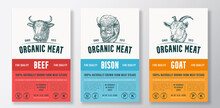 Organic Meat Abstract Vector Packaging Design Or Label Templates Set. Farm Grown Steaks Banner. Modern Typography And Hand Drawn Cow, Bison And Goat Head Silhouettes Backgrounds Layout Collection
