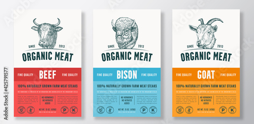 Canvas Print Organic Meat Abstract Vector Packaging Design or Label Templates Set