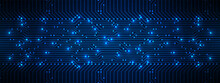 Abstract Technology Background, Blue Circuit Board Pattern With Electric Light, Microchip, Power Line