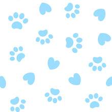 Seamless Blue Pattern Background With Paw Prints Animals.