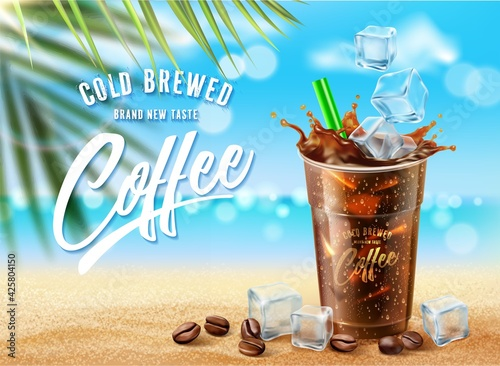 New Iced coffee ads on summer ocean beach scene Fototapet