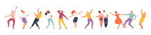 Dancing People Isolated On A White Background. Party And Leisure, Holiday And Festival Vector Illustration